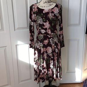 NWT Loft jersey floral long sleeve dress Med $70